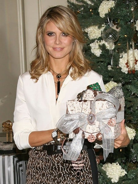 Heidi Klum goes WILD holiday shopping with her Wildlife by Heidi Klum jewelry for QVC at The Four Seasons Hotel on November 21, 2011 in Beverly Hills, California.