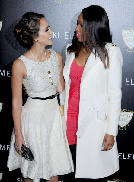 Actress Jessica Alba and actress/recording artist Jennifer Hudson arrive at the Swarovski Elements And Rodeo Drive Lighting Ceremony on November 21, 2011 in Beverly Hills, California.