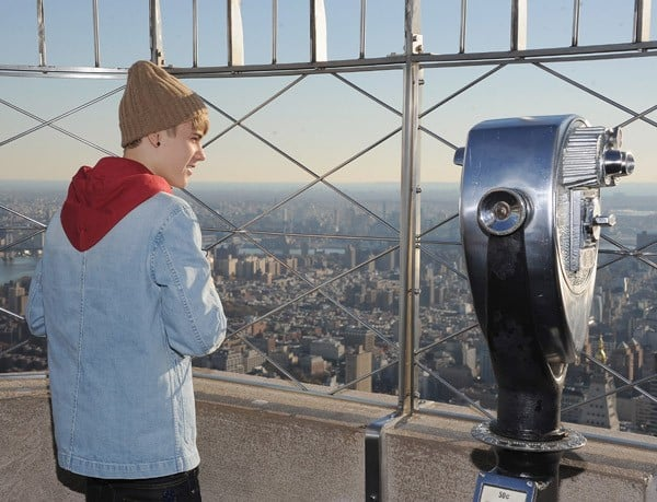Justin Bieber lights the The Empire State Building on November 18, 2011 in New York City.