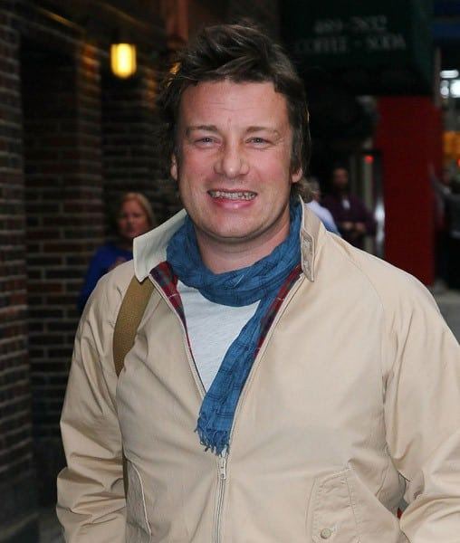 Chef Jamie Oliver arrives to 'Late Show With David Letterman' at the Ed Sullivan Theater on November 14, 2011 in New York City.