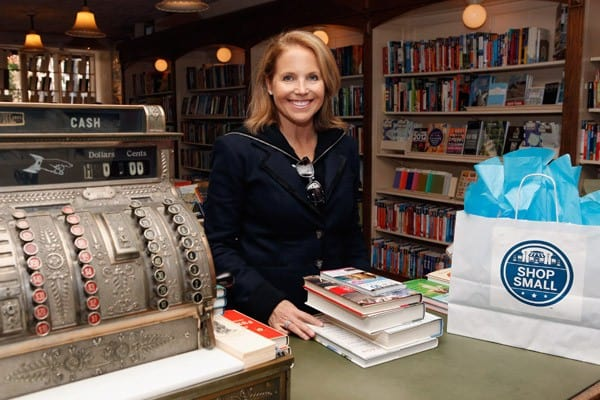 Television personality Katie Couric shops at Corner Bookstore in support of Small Business Saturday founded by American Express on November 26, 2011 in New York City.
