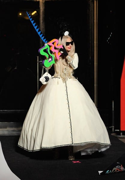 Singer Lady Gaga cuts the ribbon opening 'Gaga's Workshop' at Barneys during the opening of 'Gaga's Workshop' at Barneys New York on November 21, 2011 in New York City.