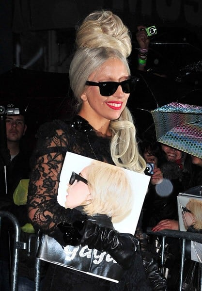 Lady Gaga leaves the 'Lady Gaga x Terry Richardson' book launch party at The New Museum on November 22, 2011 in New York City.