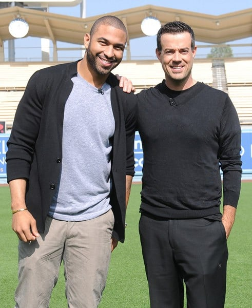 Matt Kemp and Carson Daly at Matt Kemp Shoots 'Last Call With Carson Daly' For Day Of Champions Event Benefiting The Bogart Foundation at Dodger Stadium on November 1, 2011 in Los Angeles, California.
