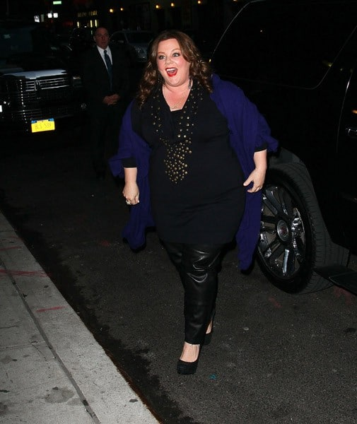 Actress Melissa McCarthy arrives to 'Late Show With David Letterman' at the Ed Sullivan Theater on November 7, 2011 in New York City.