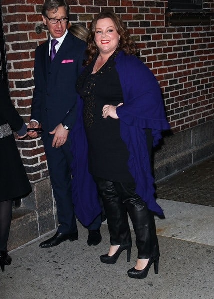 """Actress Melissa McCarthy arrives to """"Late Show With David Letterman"""" at the Ed Sullivan Theater on November 7, 2011 in New York City."""