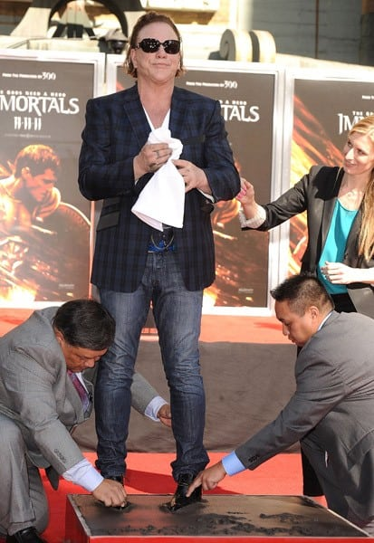 Mickey Rourke attends his Hand And Footprint Ceremony at Grauman's Chinese Theatre on October 31, 2011 in Hollywood, California.