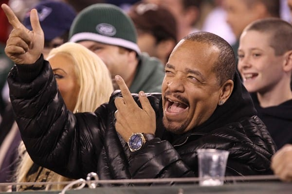 Actor Ice-T, Actor Cuba Gooding, Jr. attends the New England Patriots Vs New York Jets game at the MetLife Stadium on November 13, 2011 in East Rutherford, New Jersey.