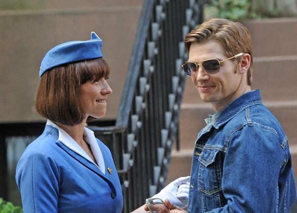 Karnie Vanasse and Michael Vogel filming on location for 'Pan Am' on November 10, 2011 on the Streets of Manhattan in New York City.