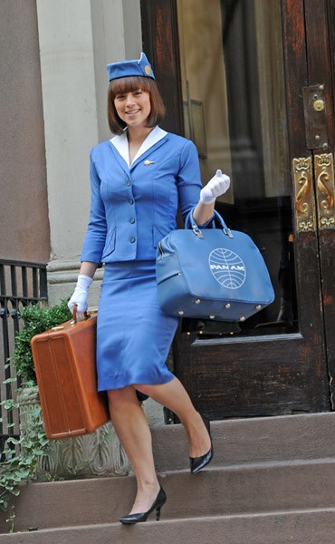 Karnie Vanasse filming on location for 'Pan Am' on November 10, 2011 on the Streets of Manhattan in New York City.