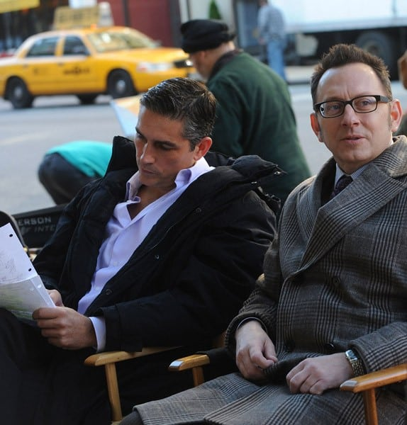 James Caviezel and Michael Emerson on the set of 'Person Of Interest' on the Streets of Manhattan on November 2, 2011 in New York City.