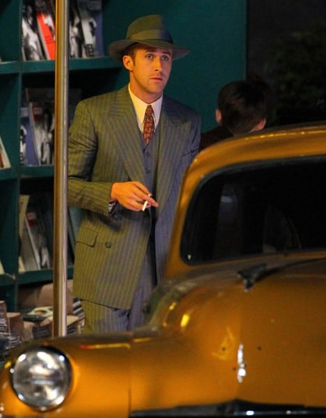 Ryan Gosling is seen on location for 'Gangster Squad' on Hollywood Blvd on November 29, 2011 in Los Angeles, California.