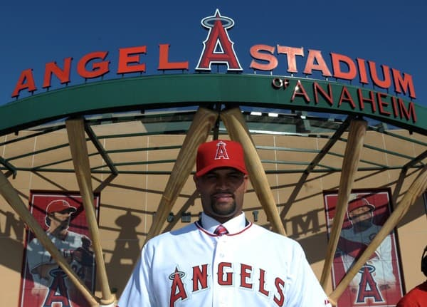 Albert Pujols attends the 2011 MLB Los Angeles Angels Press Conference at Angel Stadium in Anaheim, California on December 10, 2011