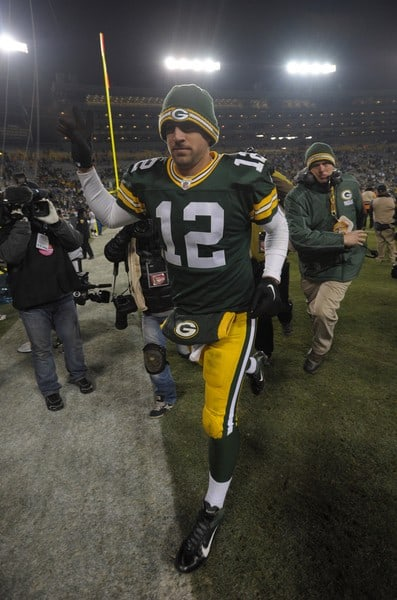 Aaron Rodgers on the field at the Oakland Raiders at Green Bay Packers game on December 11, 2011 at Lambeau Field in Green Bay, Wisconsin