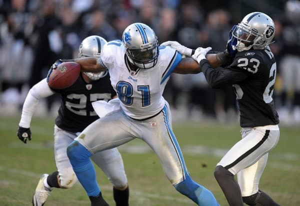 Calvin Johnson at the Detroit Lions at Oakland Raiders NFL Game on December 18, 2011 in Oakland, California.