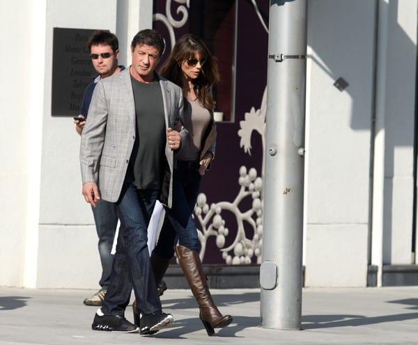Sylvester Stallone and wife Jennifer Flavin are Seen Shopping on Rodeo Drive in Beverly Hills on December 21, 2011 in Beverly Hills, California.