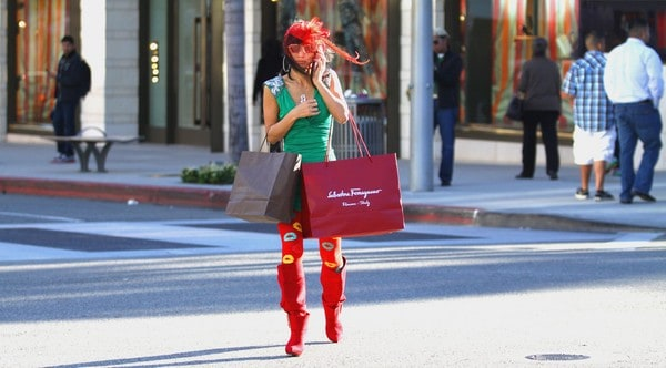 Bai Ling is Seen Shopping on Rodeo Drive in Beverly Hills, California on December 24, 2011