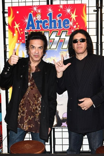 Paul Stanley and Gene Simmons attend the signing of 'Archie Meets KISS Part 1' comic book at Golden Apple Comics on November 30, 2011 in Los Angeles, California.