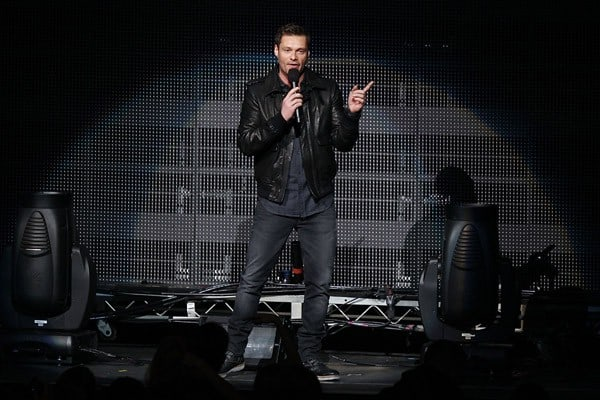 Ryan Seacrest, Taio Cruz, Nick Cannon performs at the 102.7 KIIS FM's Jingle Ball at Nokia Theatre L.A. Live on December 3, 2011 in Los Angeles, California.
