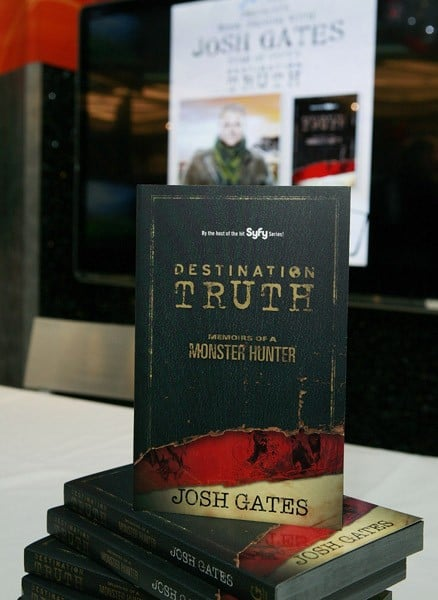 Josh Gates promotes 'Destination Truth: Memoirs Of A Monster Hunter' at the NBC Experience Store on December 2, 2011 in New York City.