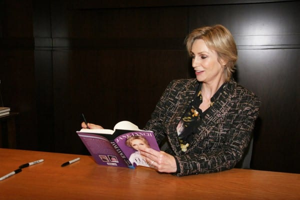 Actress Jane Lynch signs copies of her new book 'Happy Accidents' at Barnes & Noble bookstore at The Grove on December 4, 2011 in Los Angeles, California.