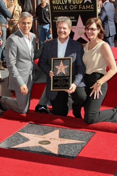 Allison Janney and George Clooney Attend the Ceremoney Where John Wells is Honored with a Star on the Hollywood Walk of Fame on January 12, 2012 in Hollywood, California