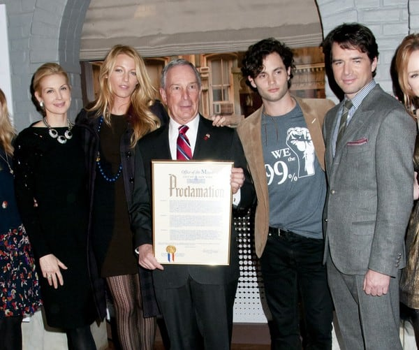 Kelly Rutherford, Blake Lively, Michael Bloomberg, Penn Badgley and Matthew Settle Attend the Mayoral Proclamation in Celebration of the 'Gossip Girl' 100th Episode at Silvercup Studios in Queens, New York on January 26, 2012