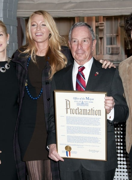 Blake Lively and Michael Bloomberg Attend the Mayoral Proclamation in Celebration of the 'Gossip Girl' 100th Episode at Silvercup Studios in Queens, New York on January 26, 2012