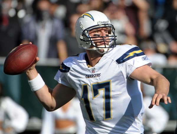 Philip Rivers at the San Diego Chargers at Oakland Raiders NFL game on January 1, 2012 in Oakland, California