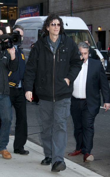 Howard Stern Visits 'Late Show with David Letterman' on February 1, 2012 in New York City.