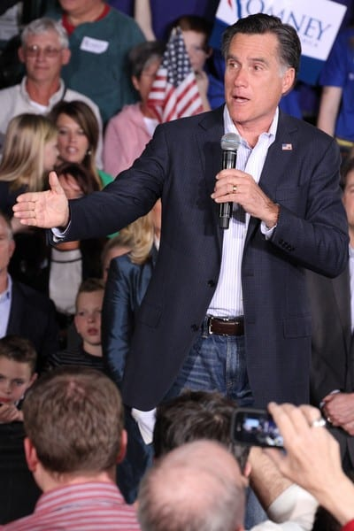 Mitt Romney Hosts a Political Rally at Brady Industries in Las Vegas, Nevada on February 1, 2012