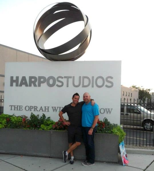Contact Any Celebrity founder Jordan McAuley & friend at The Oprah Winfrey Show's Harpo Studios in Chicago, IL
