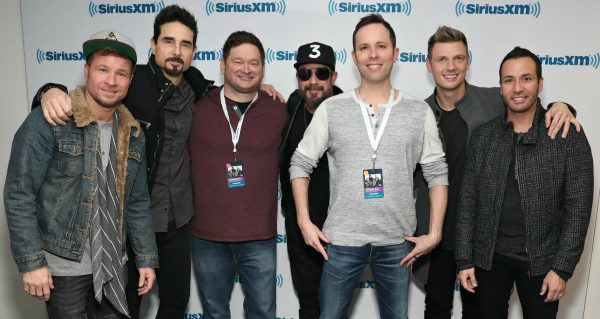 Contact Any Celebrity founder Jordan McAuley with The Backstreet Boys at SiriusXM Studios in New York City